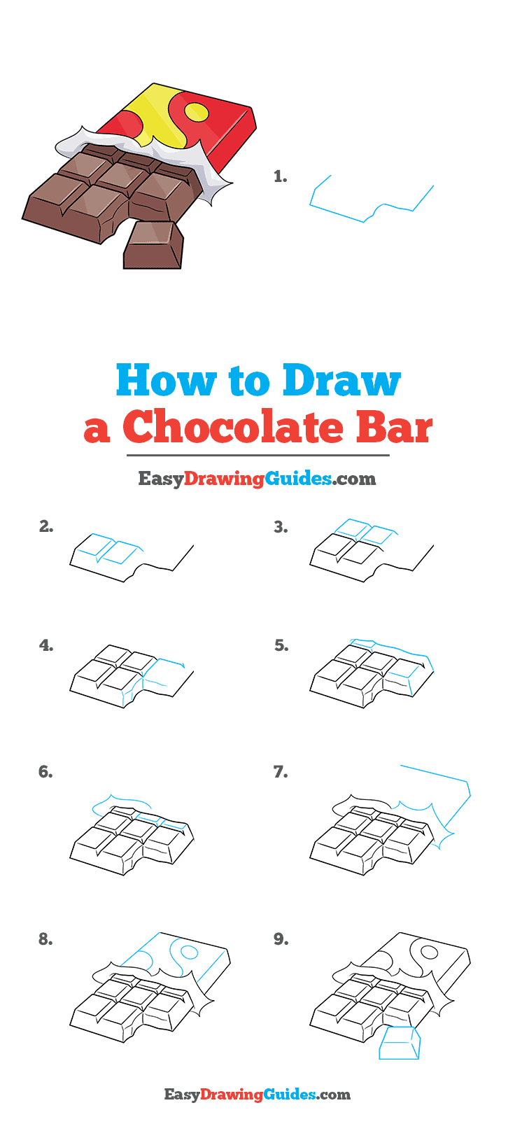 How to Draw a Chocolate Bar Step by Step Tutorial Image