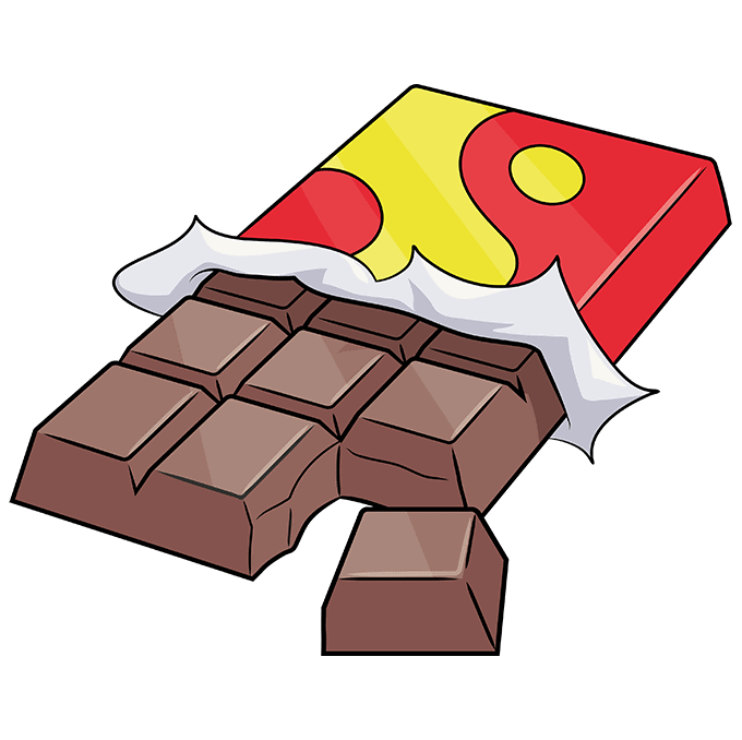 How to Draw a Chocolate Bar Step 10