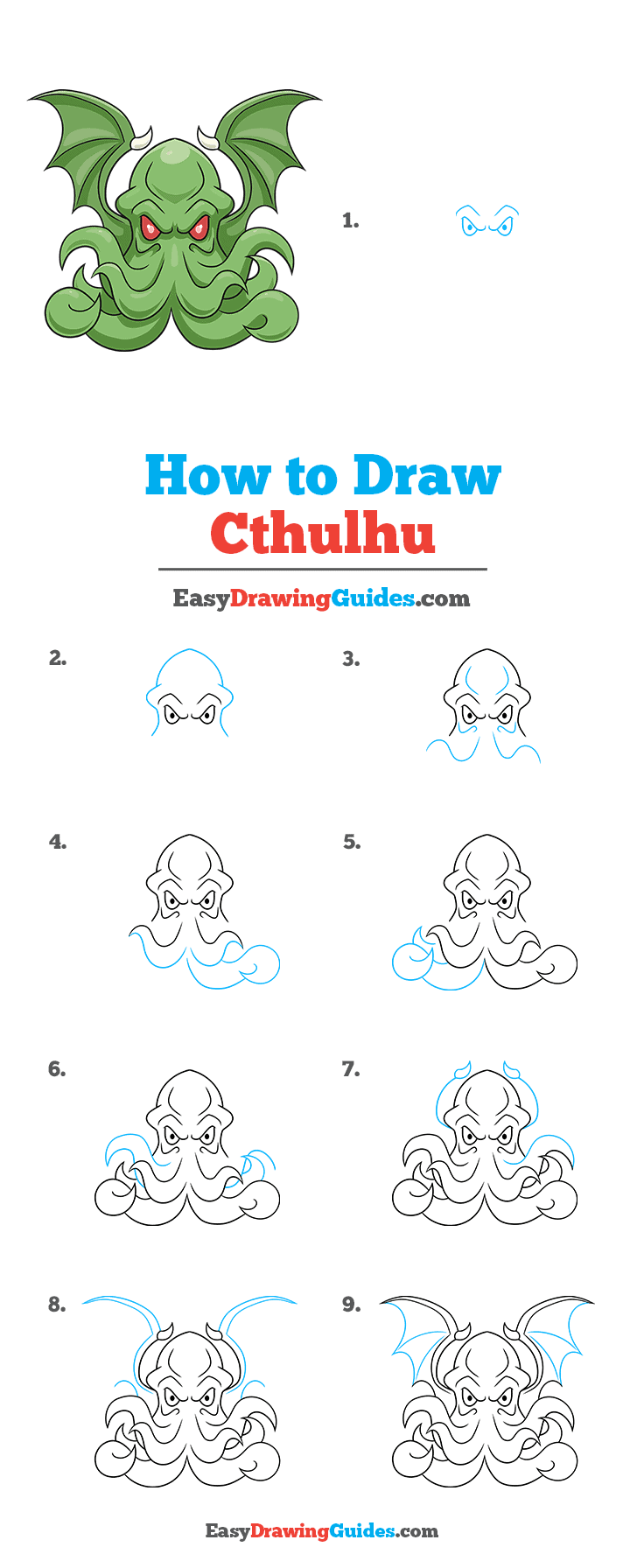 How to Draw Cthulhu Step by Step Tutorial Image