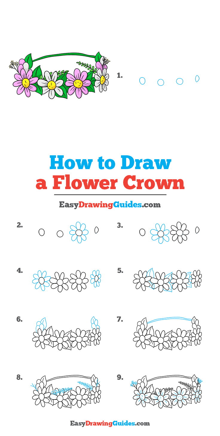 How to Draw a Flower Crown Step by Step Tutorial Image