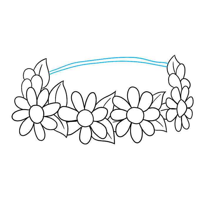 How to Draw a Flower Crown Step 07