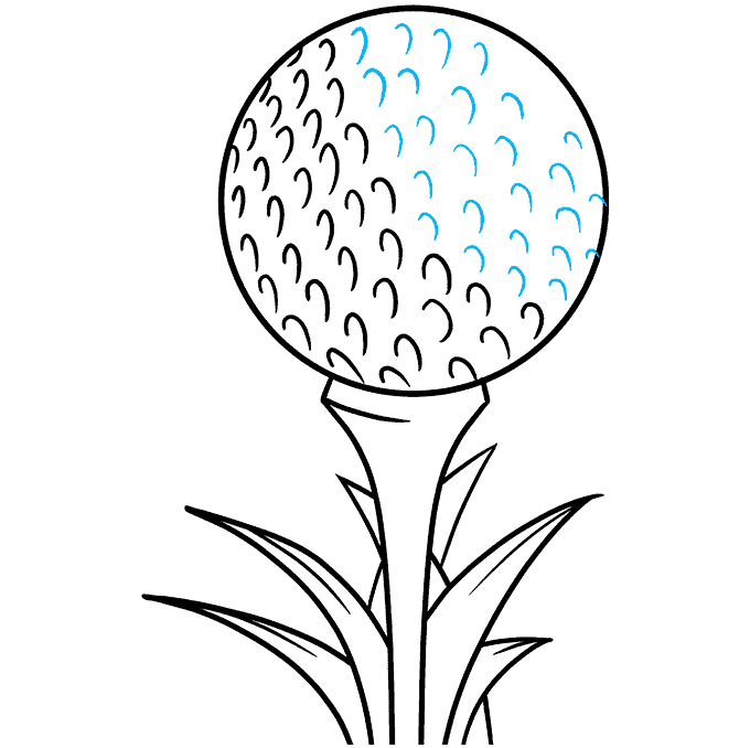 How to Draw a Golf Ball Step 09