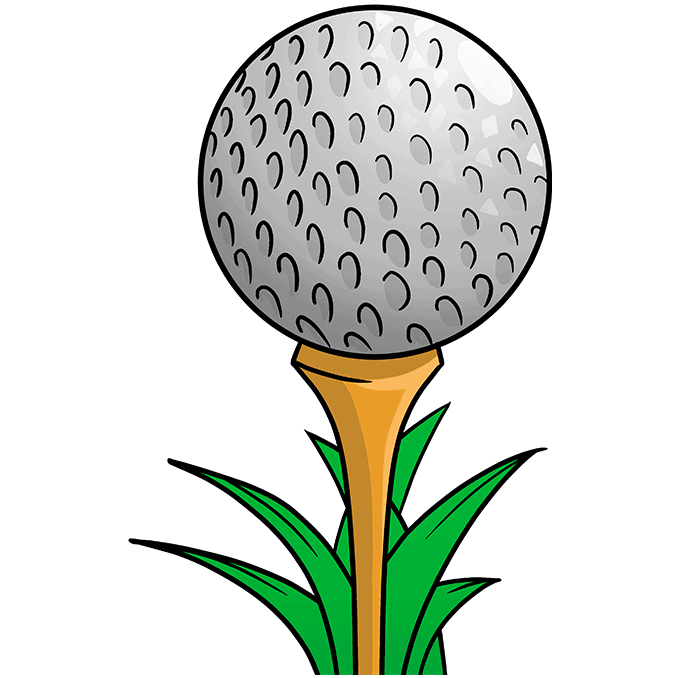 How to Draw a Golf Ball Step 10