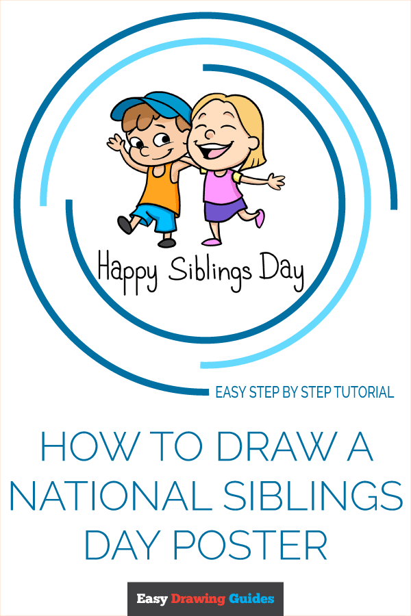 How to Draw a National Siblings Day Poster Pinterest Image