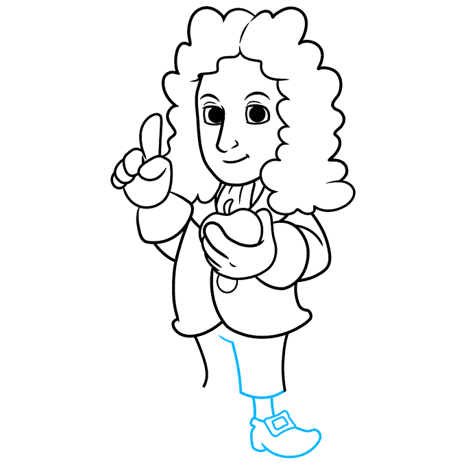 How to Draw Isaac Newton: Step 8