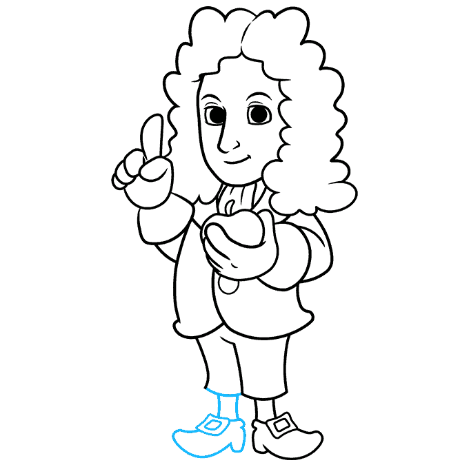 How to Draw Isaac Newton: Step 9