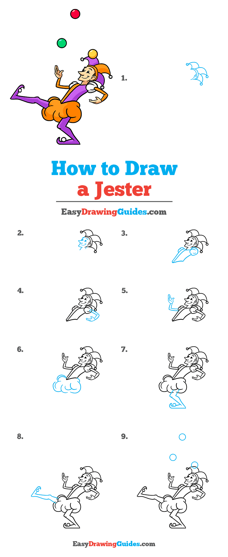How to Draw a Jester Step by Step Tutorial Image