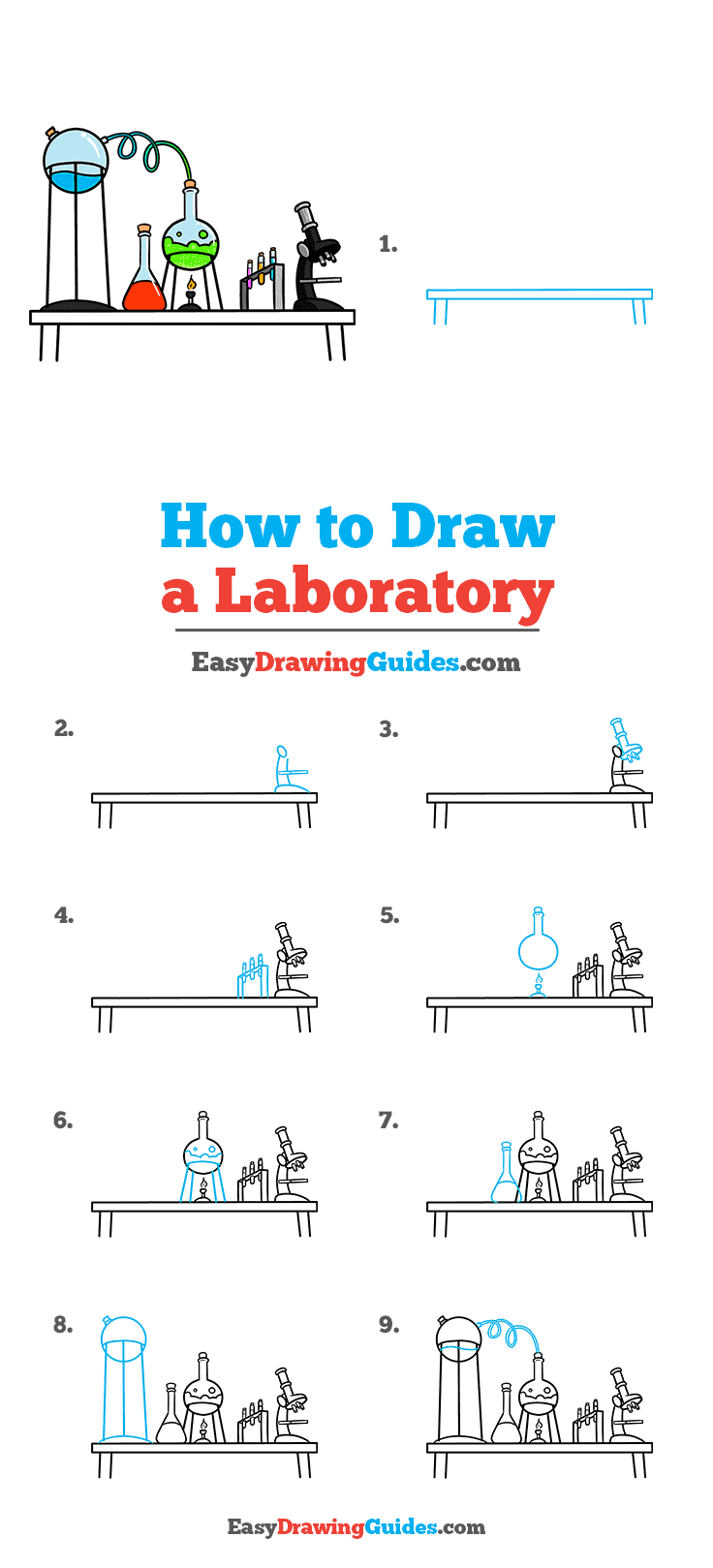 How to Draw a Laboratory Step by Step Tutorial Image