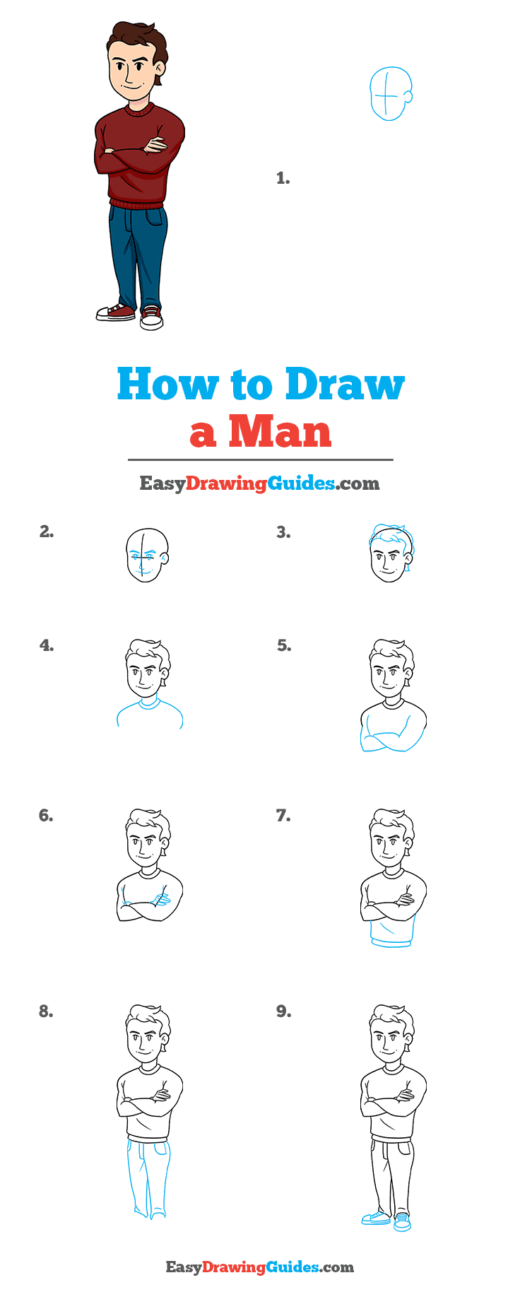 How to Draw a Man Step by Step Tutorial Image