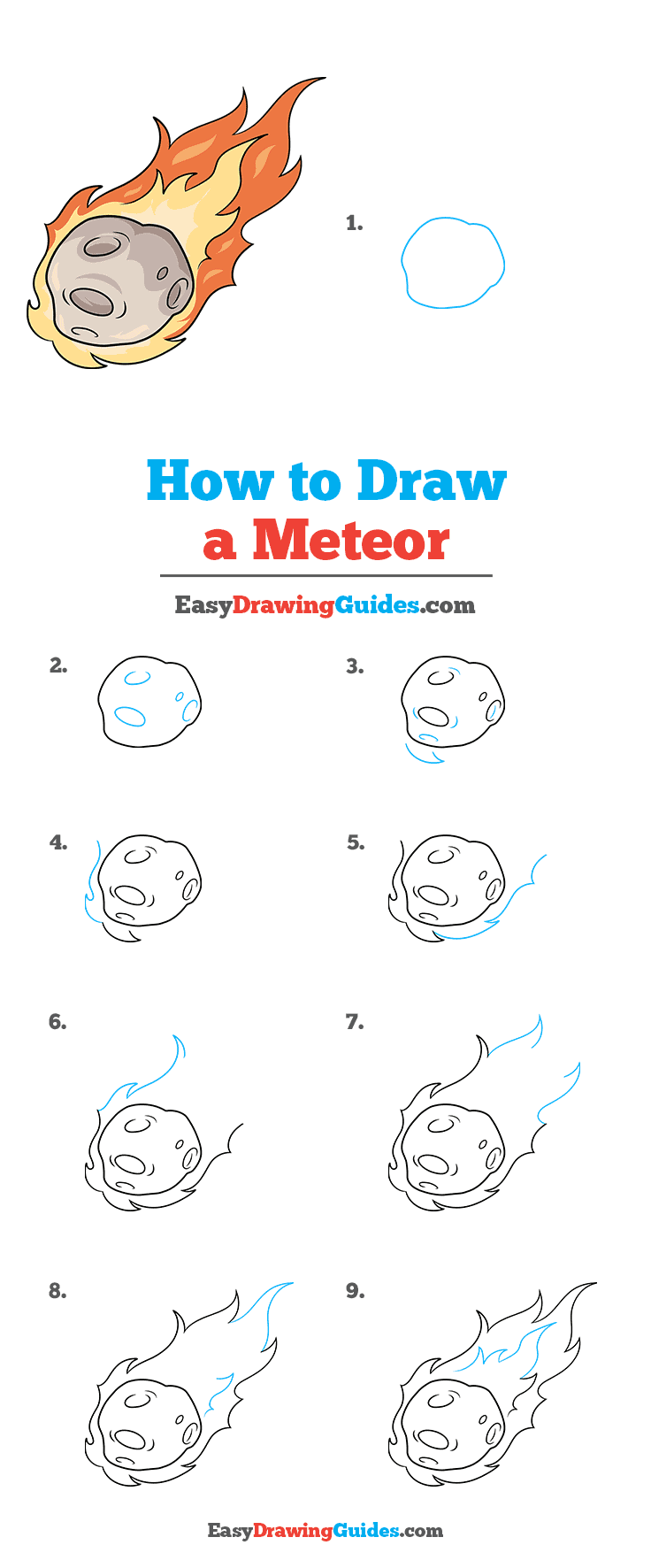 How to Draw a Meteor Step by Step Tutorial Image