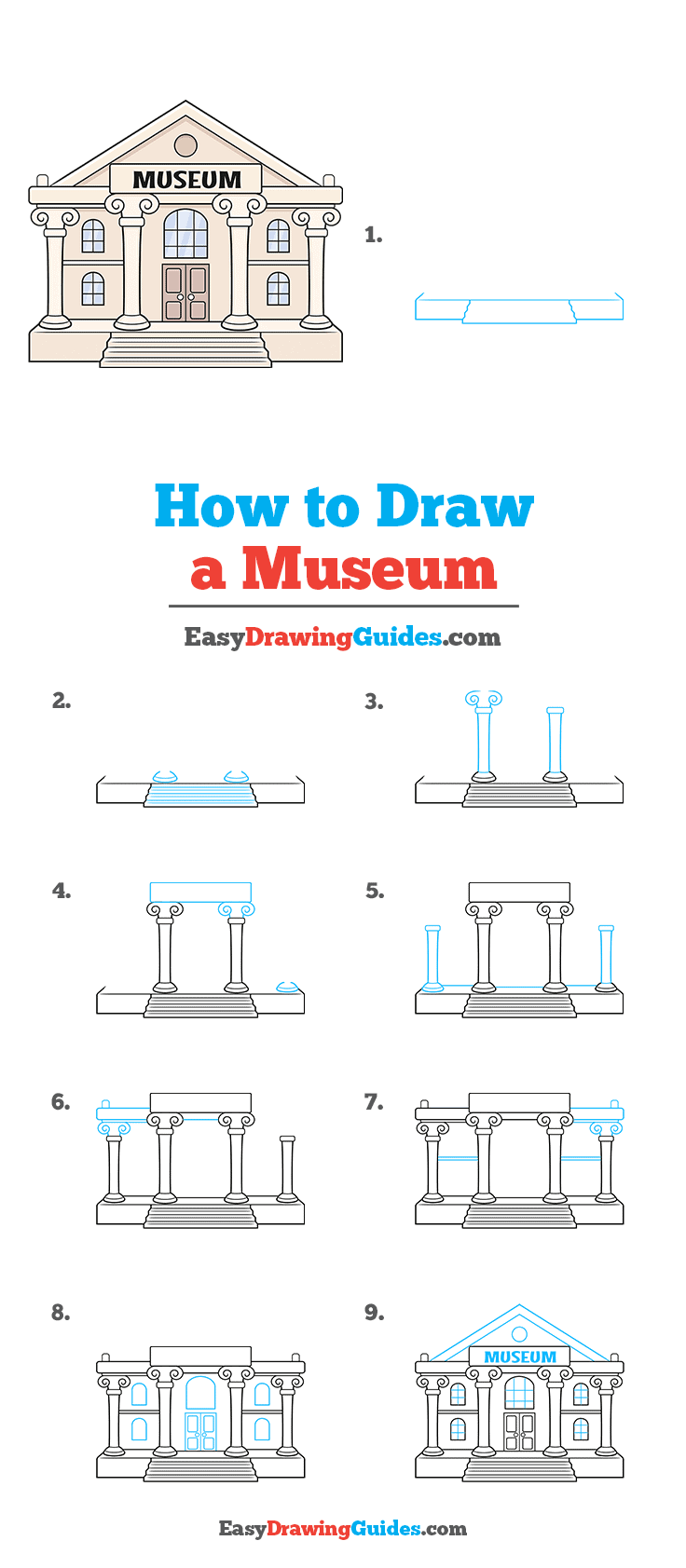 How to Draw a Museum Step by Step Tutorial Image