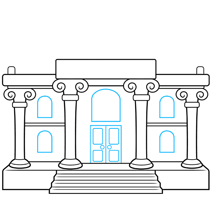 How to Draw a Museum Step 08