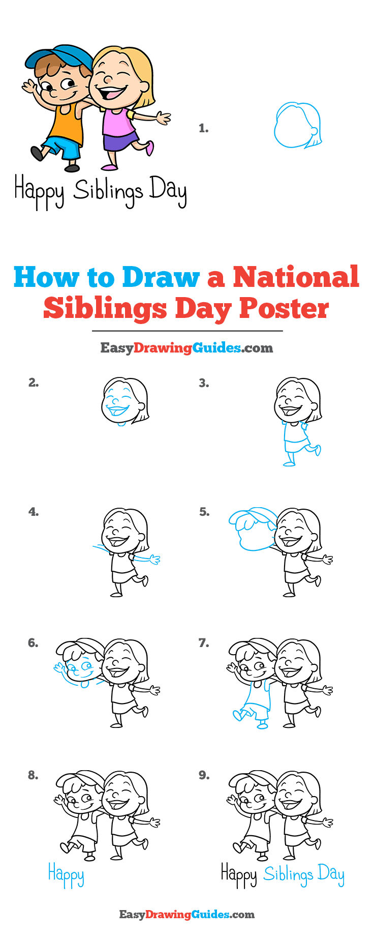 How to Draw a National Siblings Day Poster Step by Step Tutorial Image
