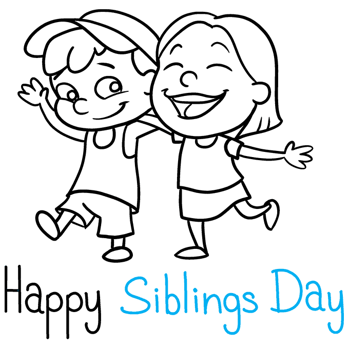 How to Draw a National Siblings Day Poster Step 09