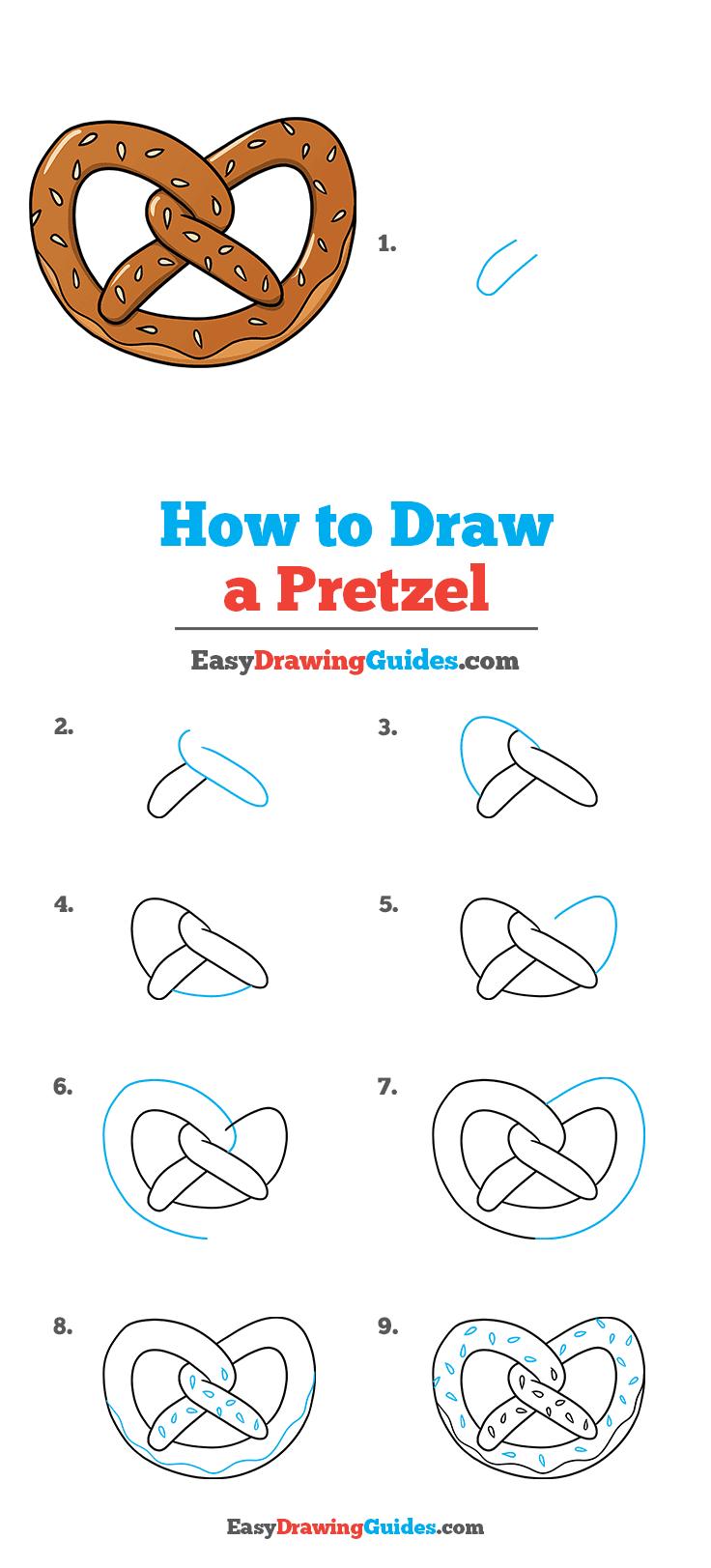 How to Draw a Pretzel Step by Step Tutorial Image