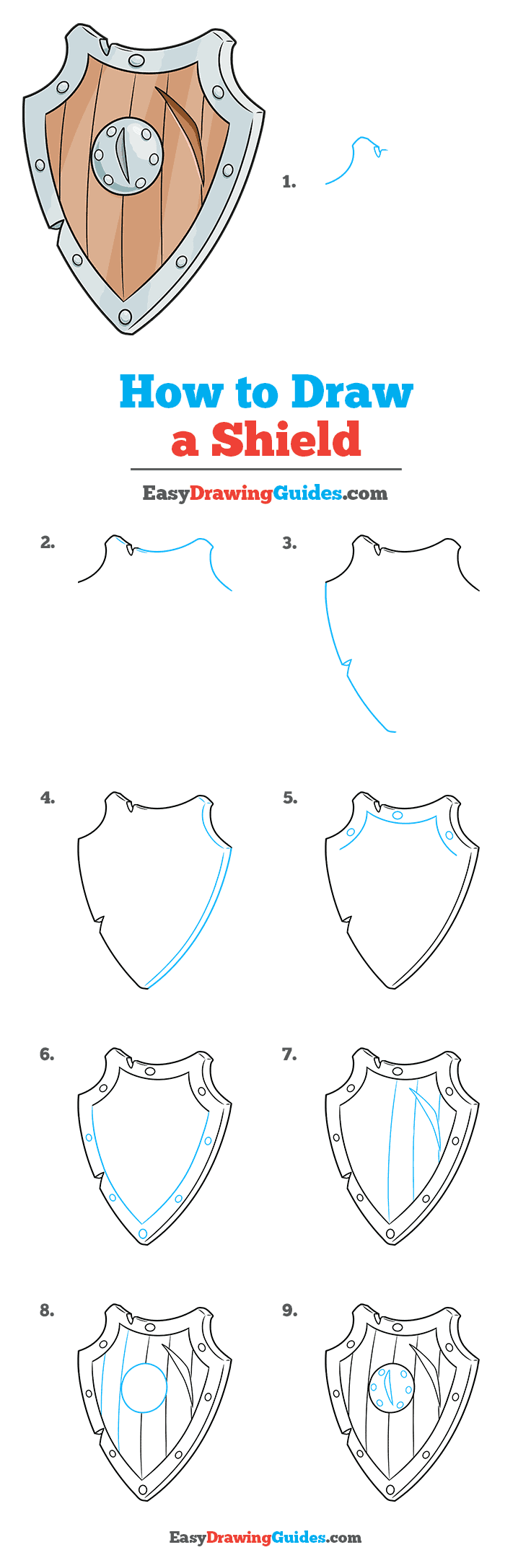 How to Draw a Shield Step by Step Tutorial Image