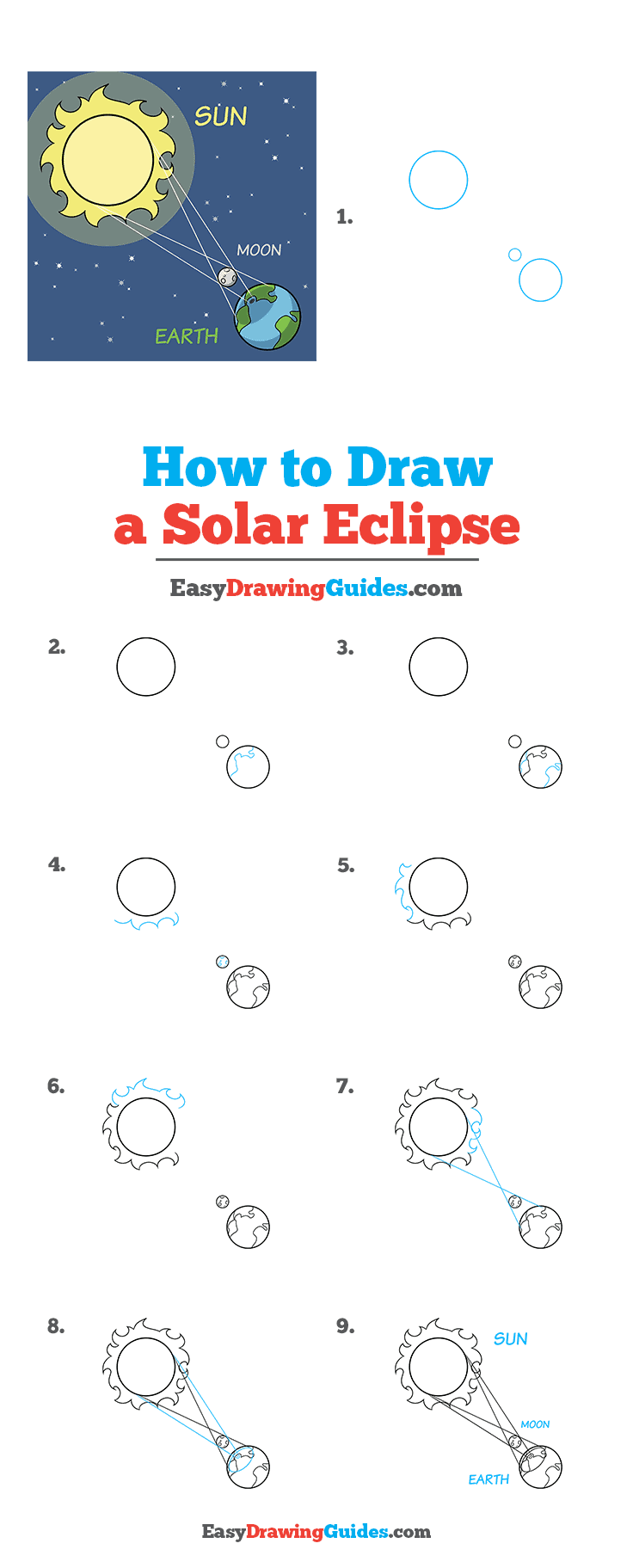 How to Draw a Solar Eclipse Step by Step Tutorial Image