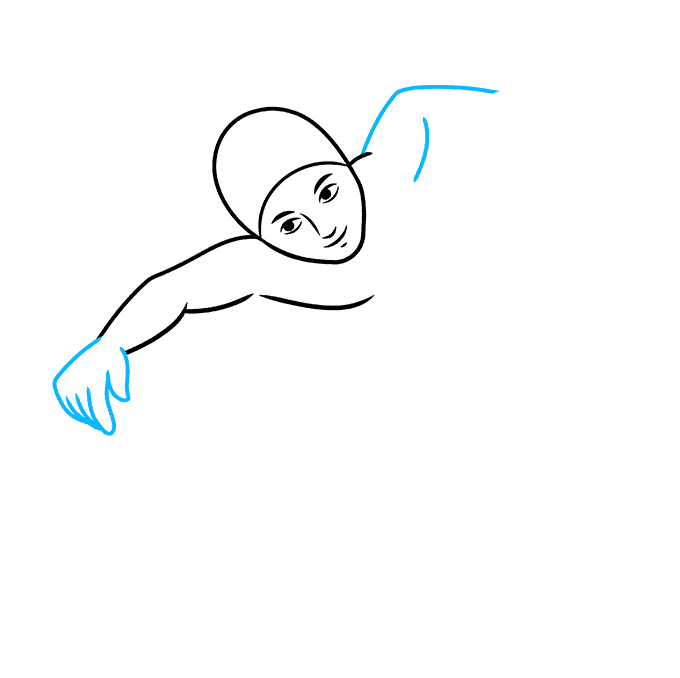 How to Draw a Boy Swimming Step 03