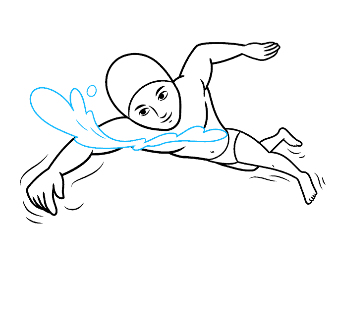 How to Draw a Boy Swimming Step 08