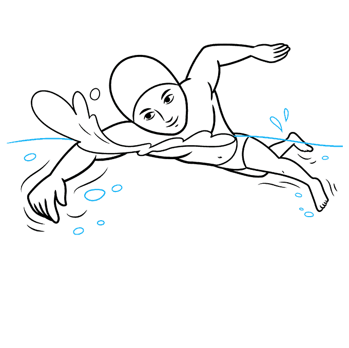 How to Draw a Boy Swimming Step 09