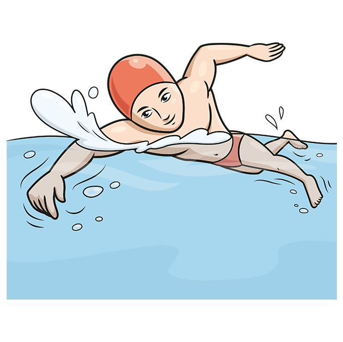 How to Draw a Boy Swimming Step 10