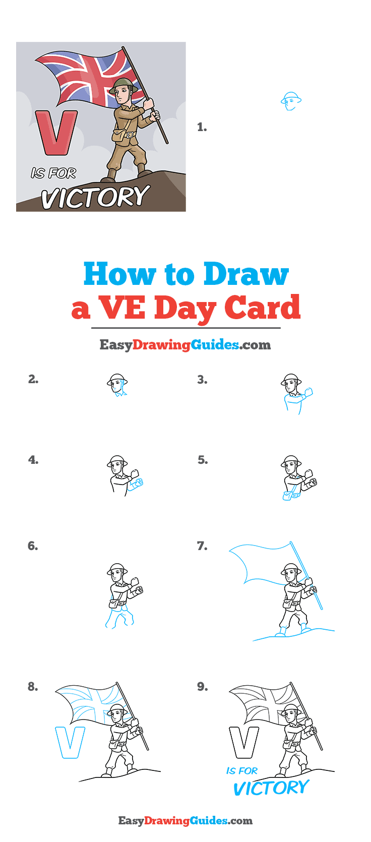 How to Draw a VE Day Card Step by Step Tutorial Image