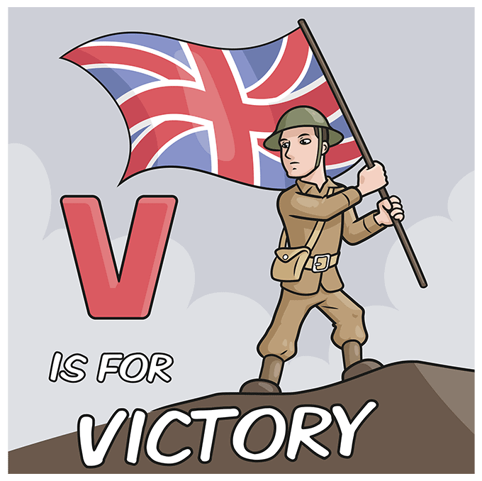 How to Draw a VE Day Card Step 10