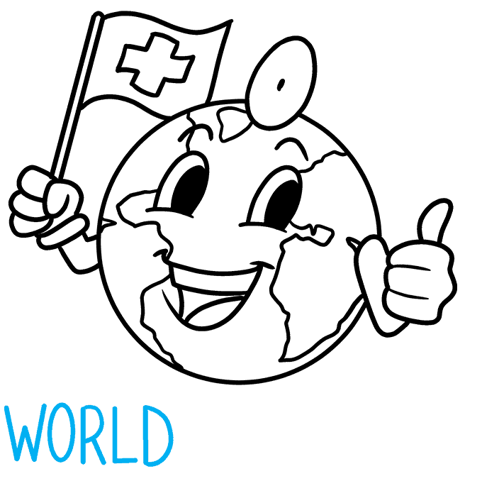 How to Draw World Health Day Illustration: Step 7