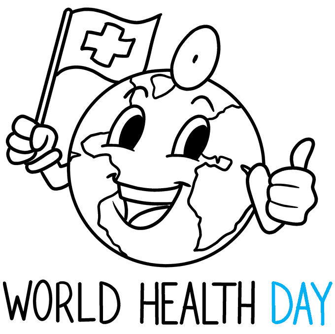 How to Draw World Health Day Illustration: Step 9