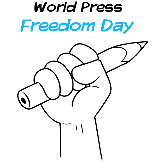 How to Draw a World Press Freedom Day Step 09