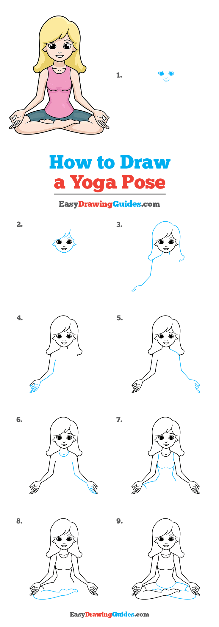 How to Draw a Yoga Pose Step by Step Tutorial Image