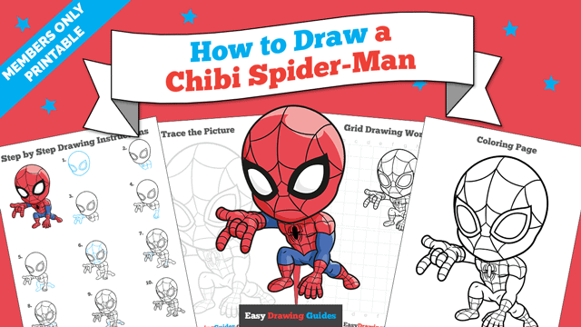 Printables thumbnail: How to Draw a Chibi Spider-Man
