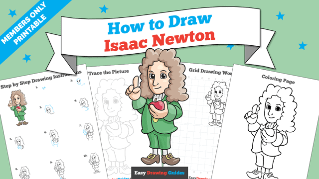 download a printable PDF of Isaac Newton drawing tutorial