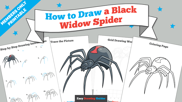 download a printable PDF of Black Widow Spider drawing tutorial