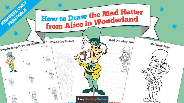 Printables thumbnail: How to Draw The Mad Hatter from Alice in Wonderland