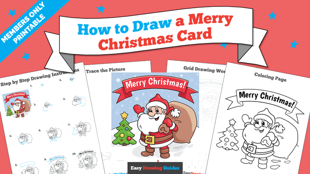 Printables thumbnail: How to Draw a Merry Christmas Card