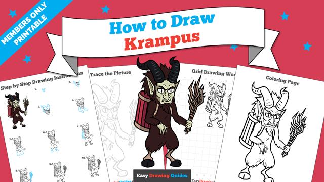 download a printable PDF of Krampus drawing tutorial