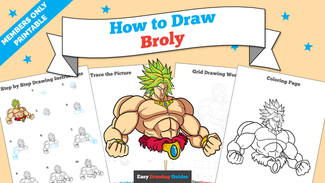 download a printable PDF of Broly drawing tutorial