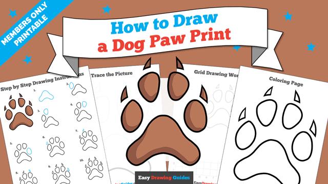 download a printable PDF of Dog Paw Print drawing tutorial