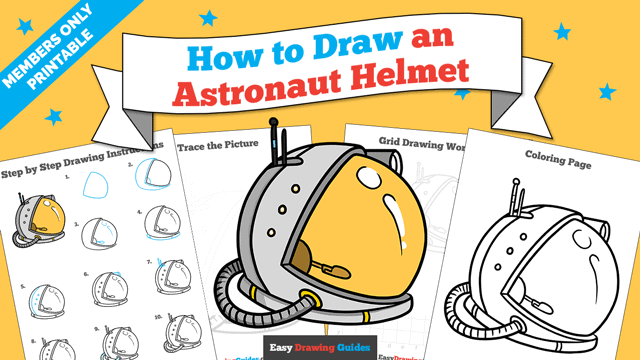 download a printable PDF of Astronaut Helmet drawing tutorial
