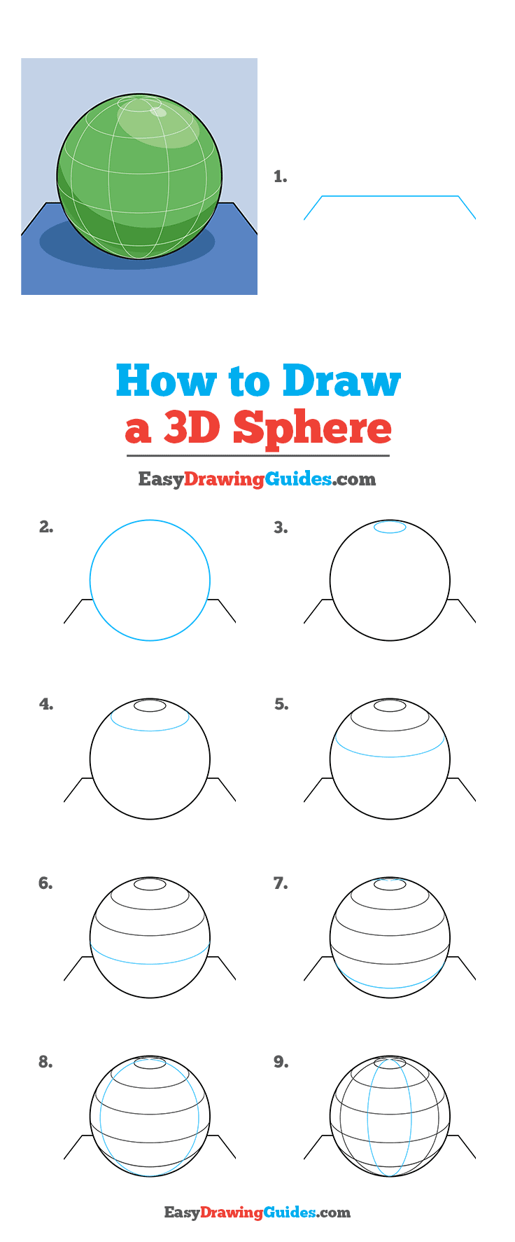 How to Draw a 3D Sphere Step by Step Tutorial Image