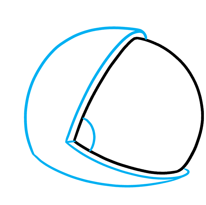 How to Draw Astronaut Helmet: Step 2