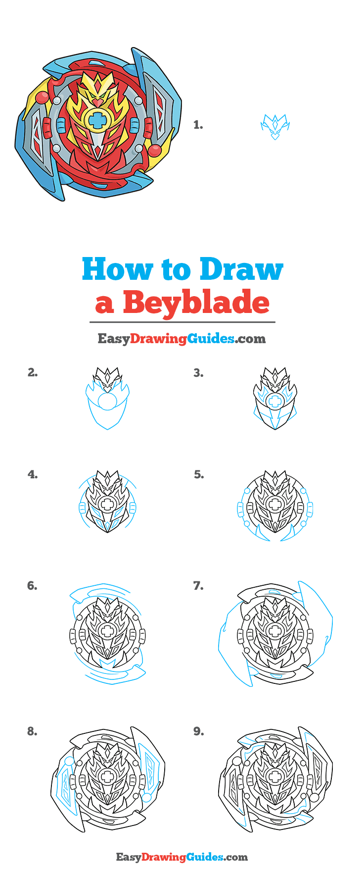 How to Draw a Beyblade Step by Step Tutorial Image