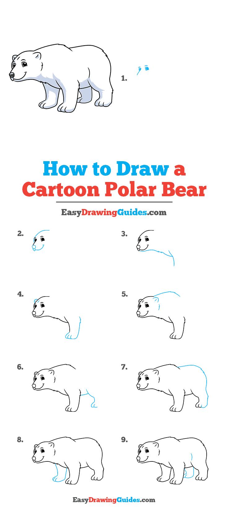 How to Draw a Cartoon Polar Bear Step by Step Tutorial Image