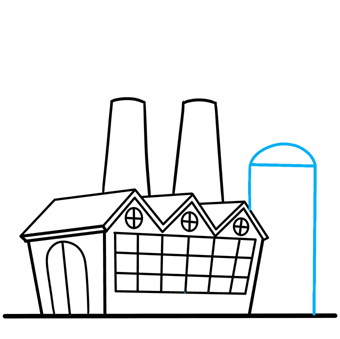 How to Draw Factory: Step 7