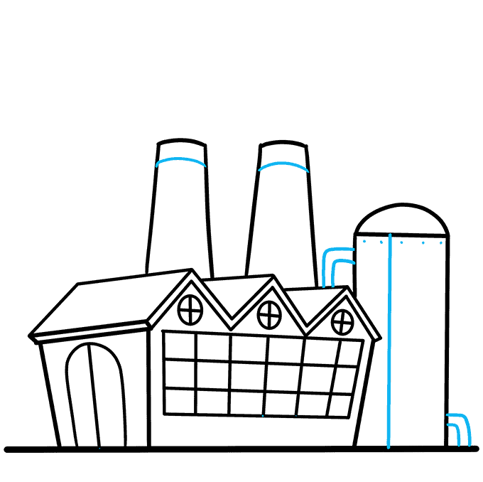 How to Draw Factory: Step 8