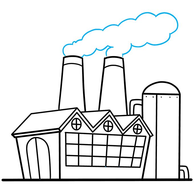 How to Draw Factory: Step 9