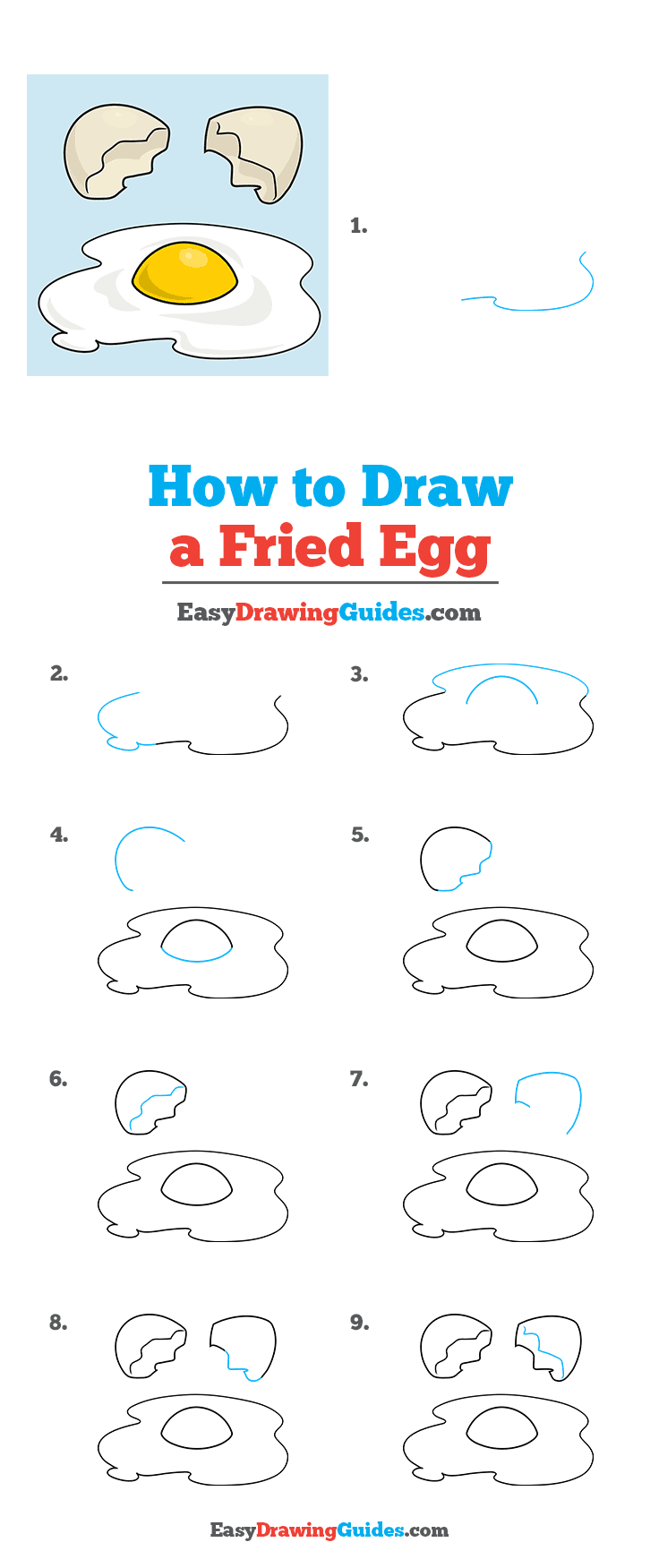How to Draw a Fried Egg Step by Step Tutorial Image