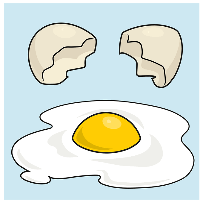 How to Draw a Fried Egg Step 10