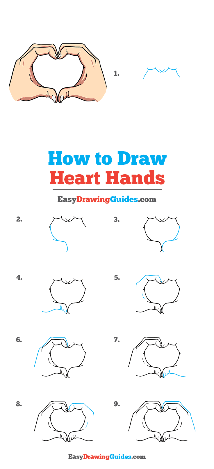 How to Draw Heart Hands Step by Step Tutorial Image